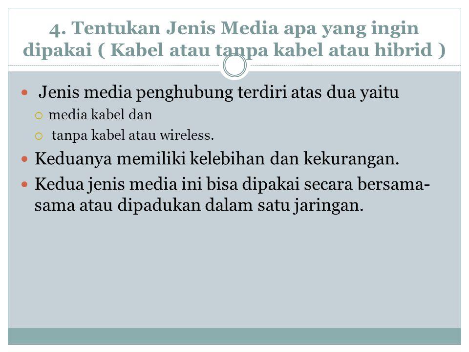 4. Tentukan Jenis Media apa yang ingin dipakai ( Kabel atau tanpa kabel atau hibrid ) Jenis media penghubung terdiri atas dua yaitu  media kabel dan