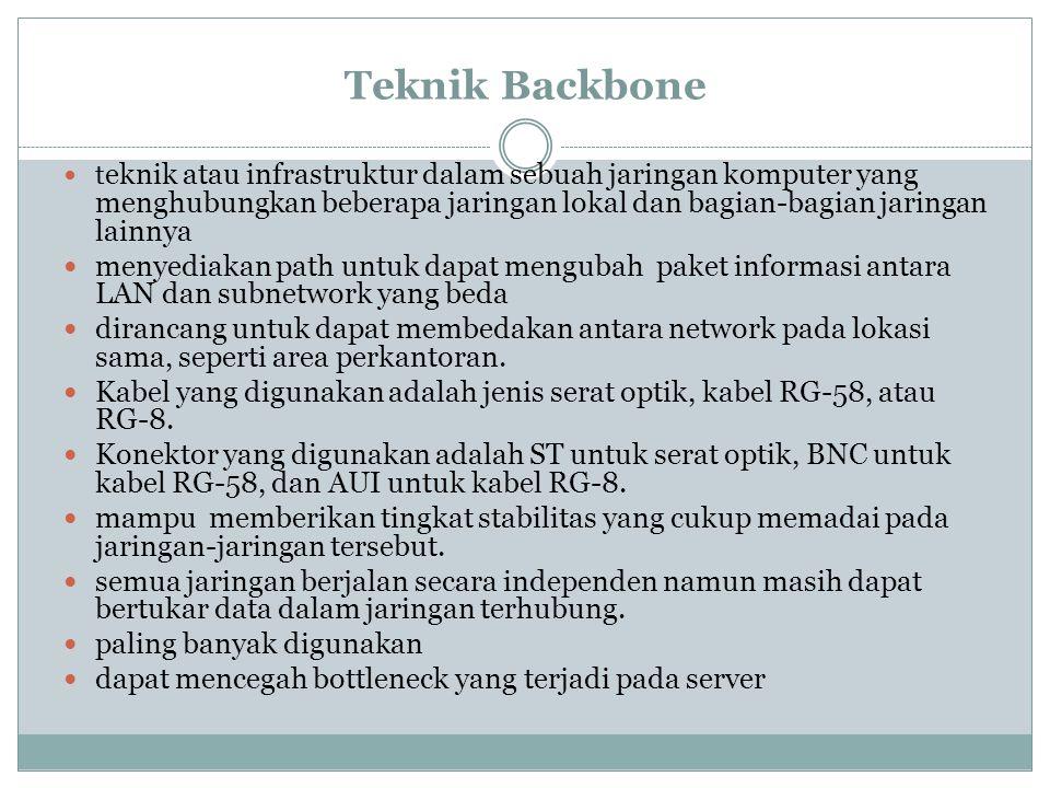 Teknik Backbone t eknik atau infrastruktur dalam sebuah jaringan komputer yang menghubungkan beberapa jaringan lokal dan bagian-bagian jaringan lainny