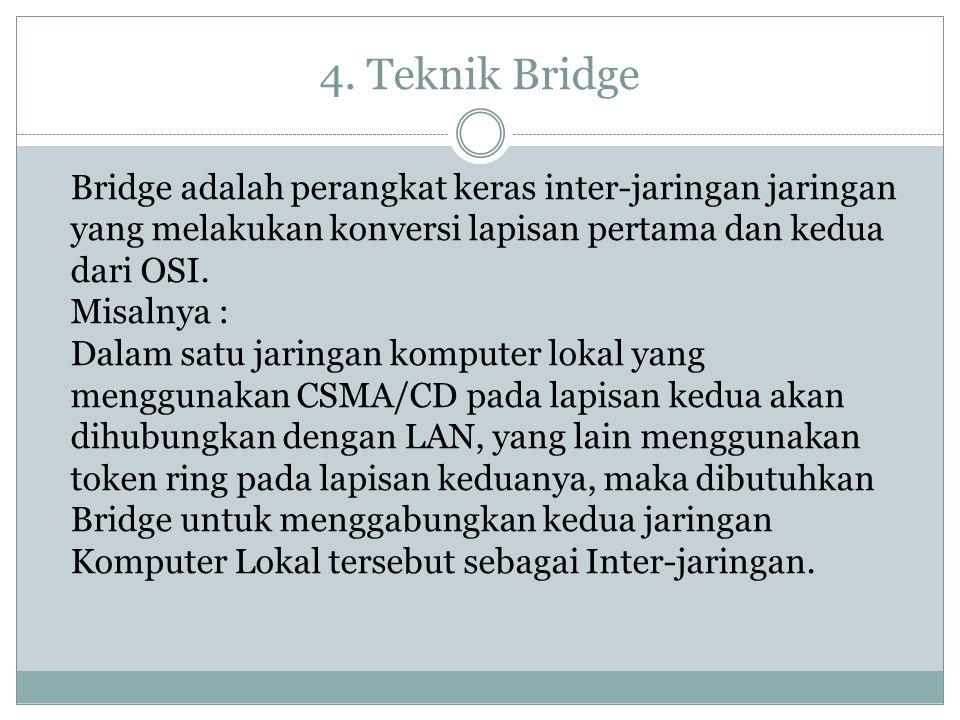 4. Teknik Bridge Bridge adalah perangkat keras inter-jaringan jaringan yang melakukan konversi lapisan pertama dan kedua dari OSI. Misalnya : Dalam sa
