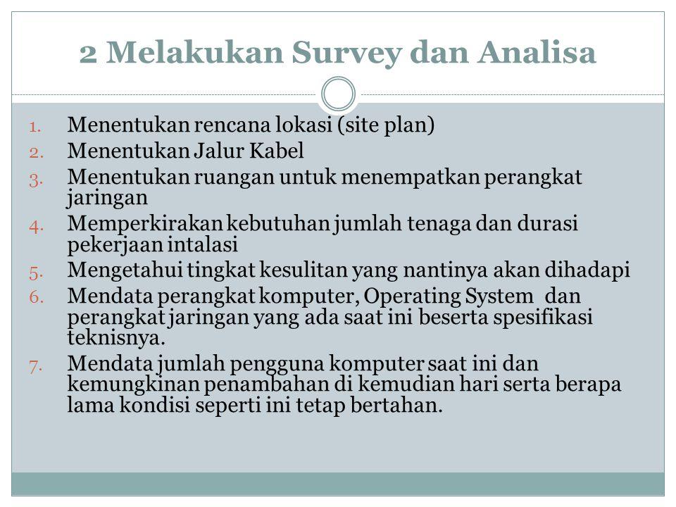 2 Melakukan Survey dan Analisa 1. Menentukan rencana lokasi (site plan) 2. Menentukan Jalur Kabel 3. Menentukan ruangan untuk menempatkan perangkat ja