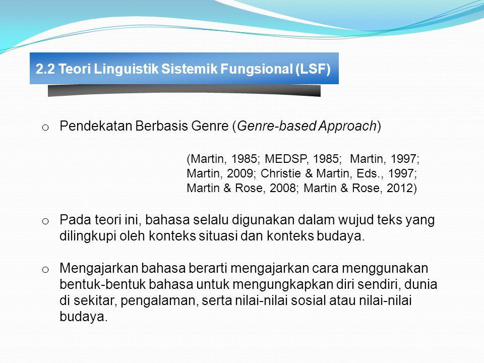 2.2 Teori Linguistik Sistemik Fungsional (LSF) o Pendekatan Berbasis Genre (Genre-based Approach) (Martin, 1985; MEDSP, 1985; Martin, 1997; Martin, 2009; Christie & Martin, Eds., 1997; Martin & Rose, 2008; Martin & Rose, 2012) o Pada teori ini, bahasa selalu digunakan dalam wujud teks yang dilingkupi oleh konteks situasi dan konteks budaya.