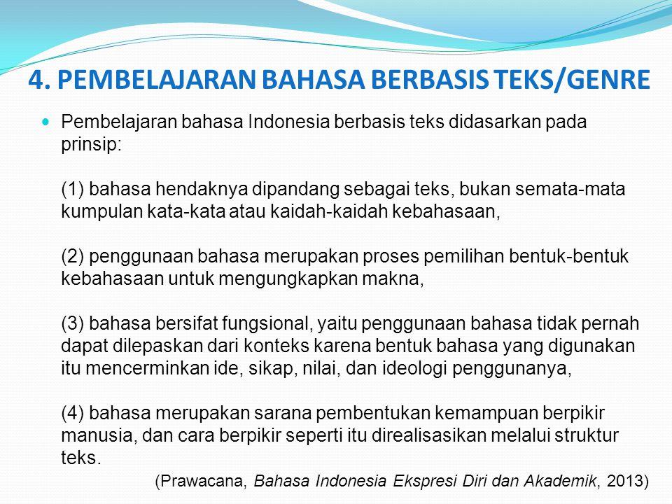 4. PEMBELAJARAN BAHASA BERBASIS TEKS/GENRE Pembelajaran bahasa Indonesia berbasis teks didasarkan pada prinsip: (1) bahasa hendaknya dipandang sebagai