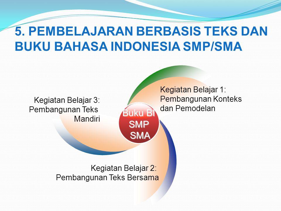 5. PEMBELAJARAN BERBASIS TEKS DAN BUKU BAHASA INDONESIA SMP/SMA Buku BI SMPSMA Kegiatan Belajar 3: Pembangunan Teks Mandiri Kegiatan Belajar 1: Pemban