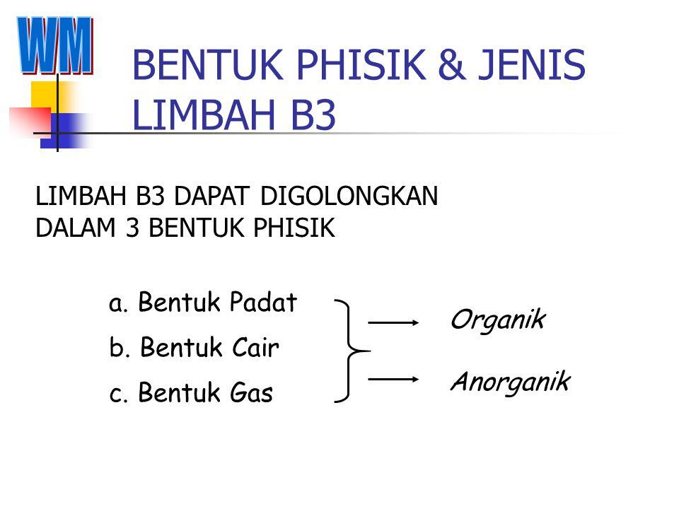 BENTUK PHISIK & JENIS LIMBAH B3 LIMBAH B3 DAPAT DIGOLONGKAN DALAM 3 BENTUK PHISIK a.