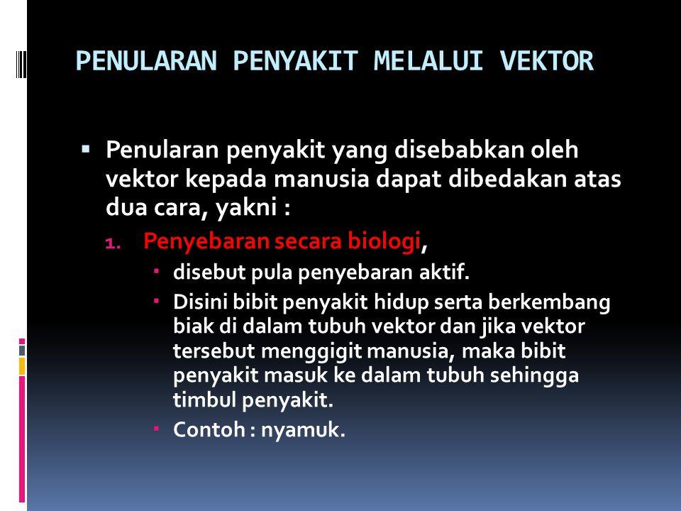 PENULARAN PENYAKIT MELALUI VEKTOR  Penularan penyakit yang disebabkan oleh vektor kepada manusia dapat dibedakan atas dua cara, yakni : 1. Penyebaran