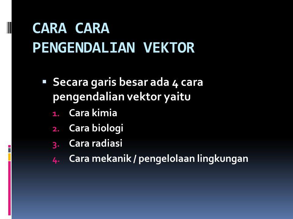 CARA CARA PENGENDALIAN VEKTOR  Secara garis besar ada 4 cara pengendalian vektor yaitu 1. Cara kimia 2. Cara biologi 3. Cara radiasi 4. Cara mekanik