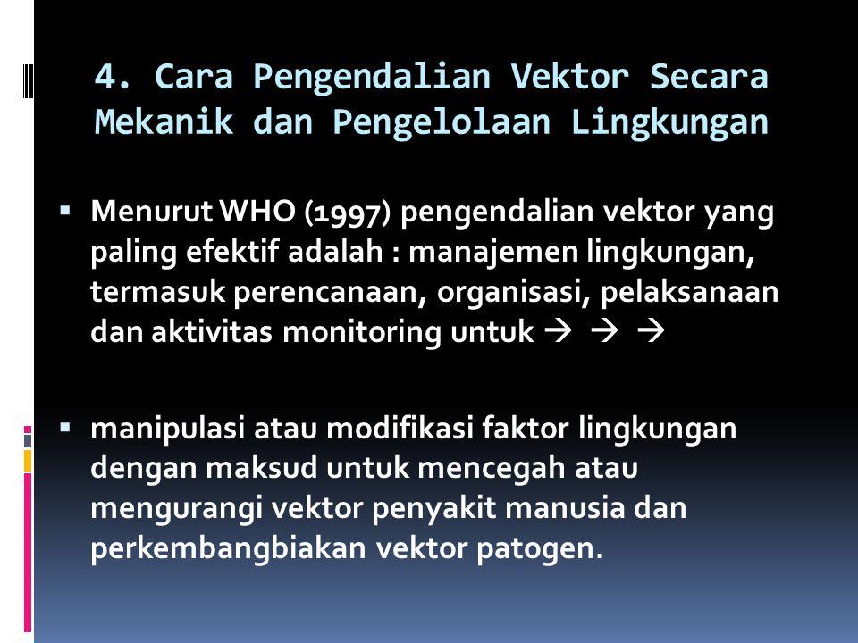 4. Cara Pengendalian Vektor Secara Mekanik dan Pengelolaan Lingkungan  Menurut WHO (1997) pengendalian vektor yang paling efektif adalah : manajemen