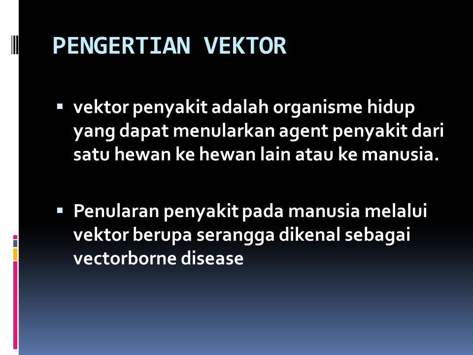 PENGERTIAN VEKTOR  vektor penyakit adalah organisme hidup yang dapat menularkan agent penyakit dari satu hewan ke hewan lain atau ke manusia.  Penul
