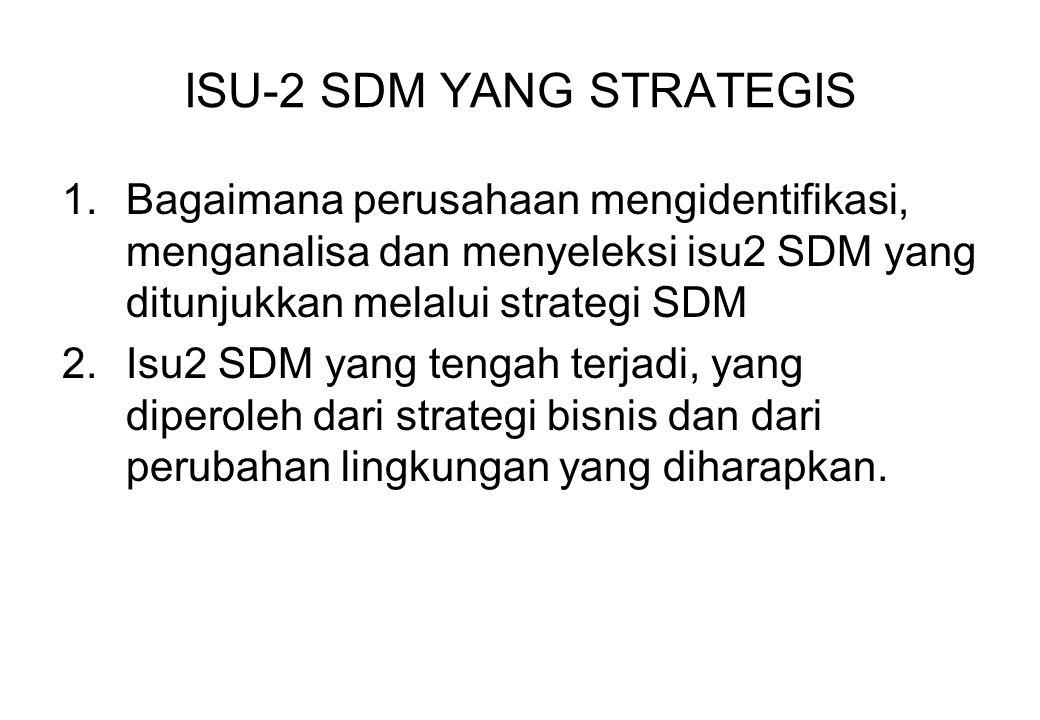 ISU-2 SDM YANG STRATEGIS 1.Bagaimana perusahaan mengidentifikasi, menganalisa dan menyeleksi isu2 SDM yang ditunjukkan melalui strategi SDM 2.Isu2 SDM