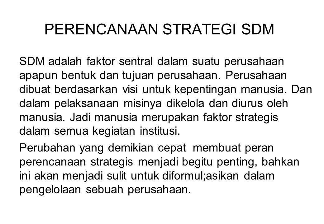 PERENCANAAN STRATEGI SDM SDM adalah faktor sentral dalam suatu perusahaan apapun bentuk dan tujuan perusahaan. Perusahaan dibuat berdasarkan visi untu