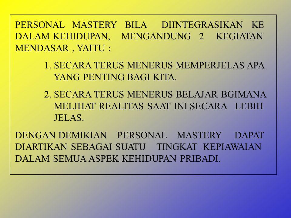 PERSONAL MASTERY PENGERTIAN PERSONAL MASTERY ADALAH SUATU KEPIAWAIAN PRIBADI YANG DAPAT MENAMBAH KEJELASAN DAN KEDALAMAN ( VISI ), SERTA MELIHAT REALITA SECARA OBYEKTIF.