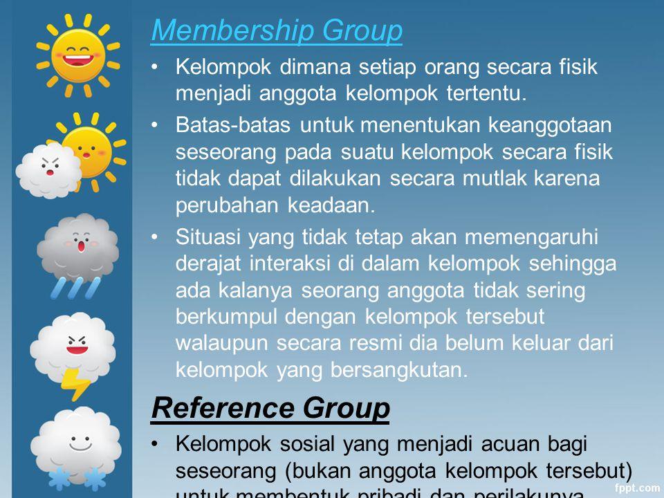 Membership Group Kelompok dimana setiap orang secara fisik menjadi anggota kelompok tertentu. Batas-batas untuk menentukan keanggotaan seseorang pada