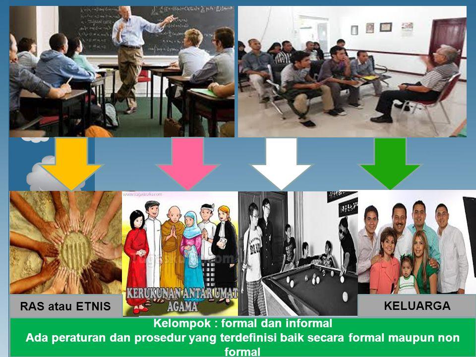 Kelompok : formal dan informal Ada peraturan dan prosedur yang terdefinisi baik secara formal maupun non formal RAS atau ETNIS KELUARGA