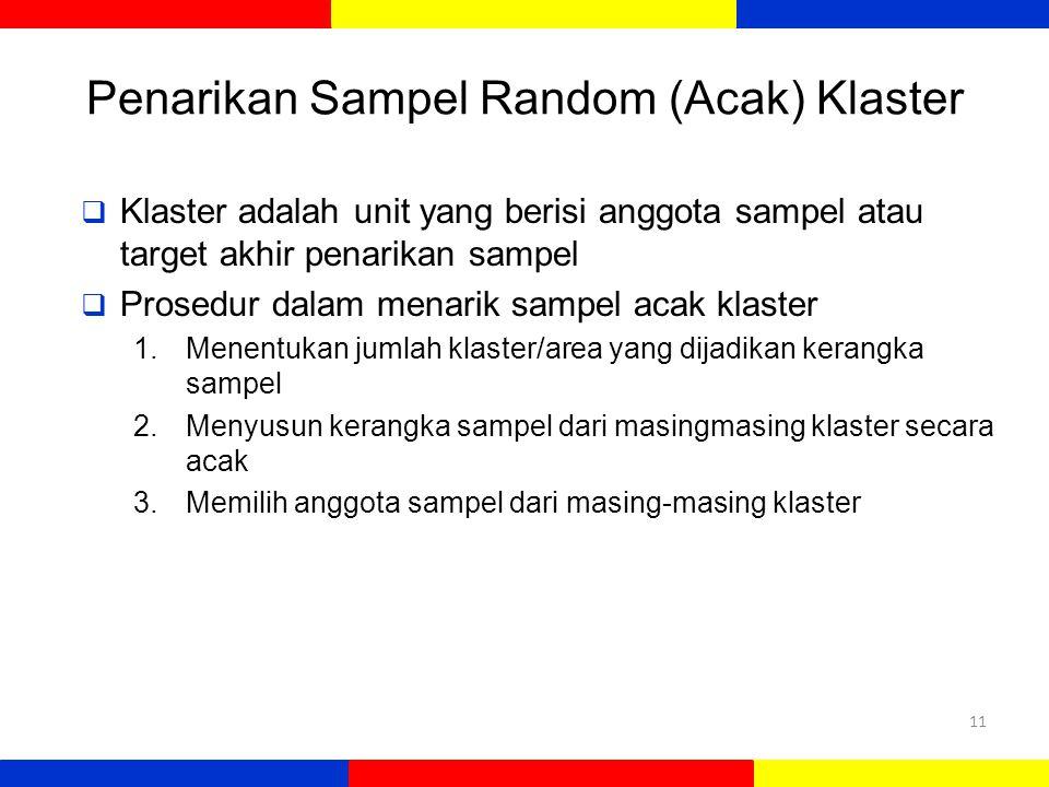 Penarikan Sampel Random (Acak) Klaster 11  Klaster adalah unit yang berisi anggota sampel atau target akhir penarikan sampel  Prosedur dalam menarik sampel acak klaster 1.Menentukan jumlah klaster/area yang dijadikan kerangka sampel 2.Menyusun kerangka sampel dari masingmasing klaster secara acak 3.Memilih anggota sampel dari masing-masing klaster