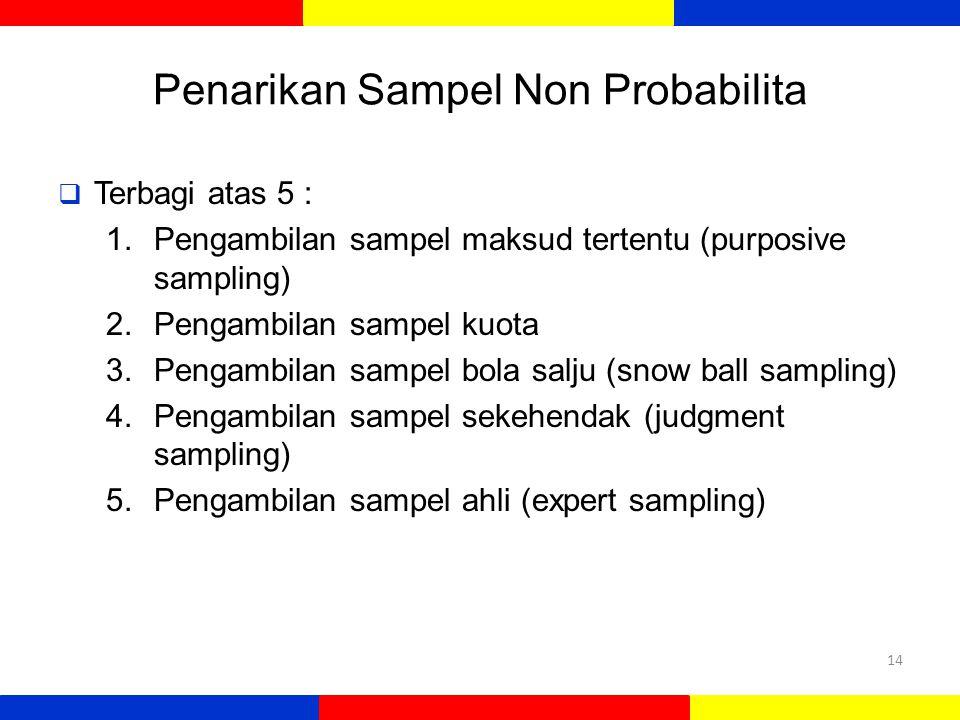Penarikan Sampel Non Probabilita  Terbagi atas 5 : 1.Pengambilan sampel maksud tertentu (purposive sampling) 2.Pengambilan sampel kuota 3.Pengambilan
