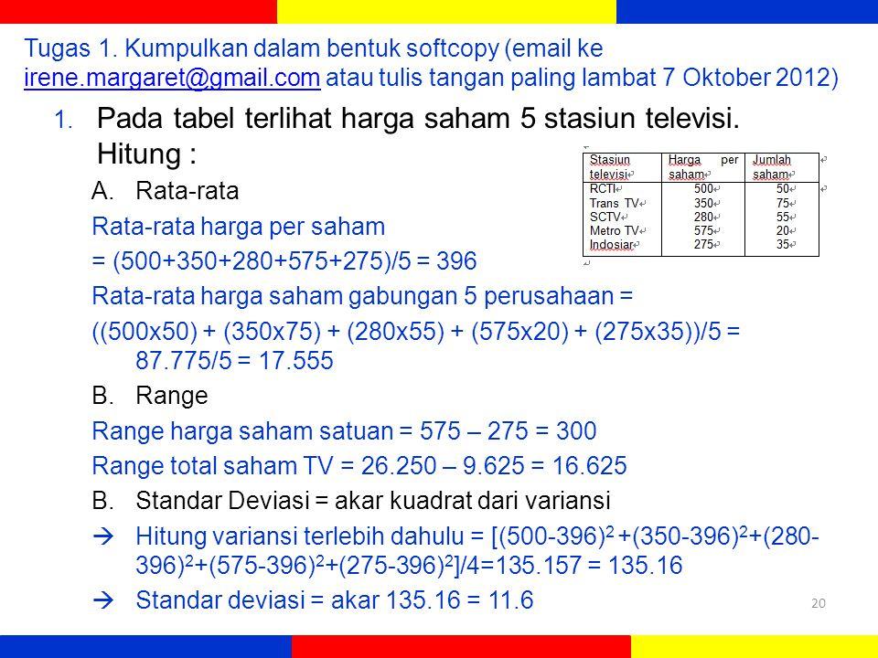 Tugas 1. Kumpulkan dalam bentuk softcopy (email ke irene.margaret@gmail.com atau tulis tangan paling lambat 7 Oktober 2012) irene.margaret@gmail.com 1