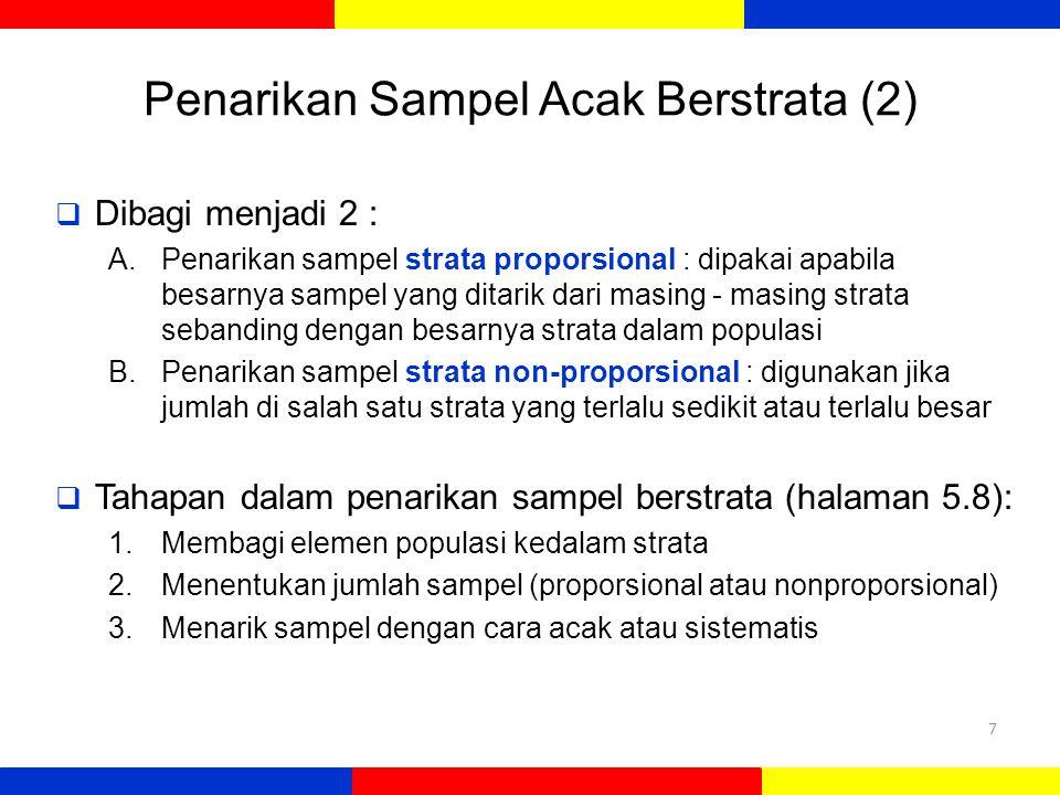 Penarikan Sampel Acak Berstrata (2)  Dibagi menjadi 2 : A.Penarikan sampel strata proporsional : dipakai apabila besarnya sampel yang ditarik dari masing - masing strata sebanding dengan besarnya strata dalam populasi B.Penarikan sampel strata non-proporsional : digunakan jika jumlah di salah satu strata yang terlalu sedikit atau terlalu besar  Tahapan dalam penarikan sampel berstrata (halaman 5.8): 1.Membagi elemen populasi kedalam strata 2.Menentukan jumlah sampel (proporsional atau nonproporsional) 3.Menarik sampel dengan cara acak atau sistematis 7