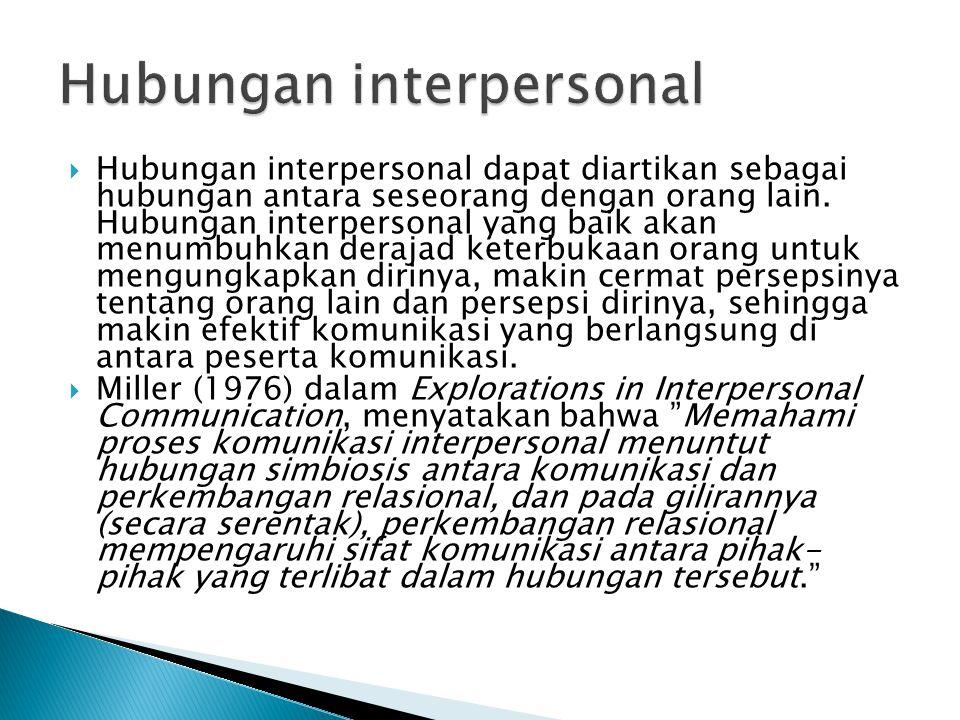  Hubungan interpersonal dapat diartikan sebagai hubungan antara seseorang dengan orang lain. Hubungan interpersonal yang baik akan menumbuhkan deraja