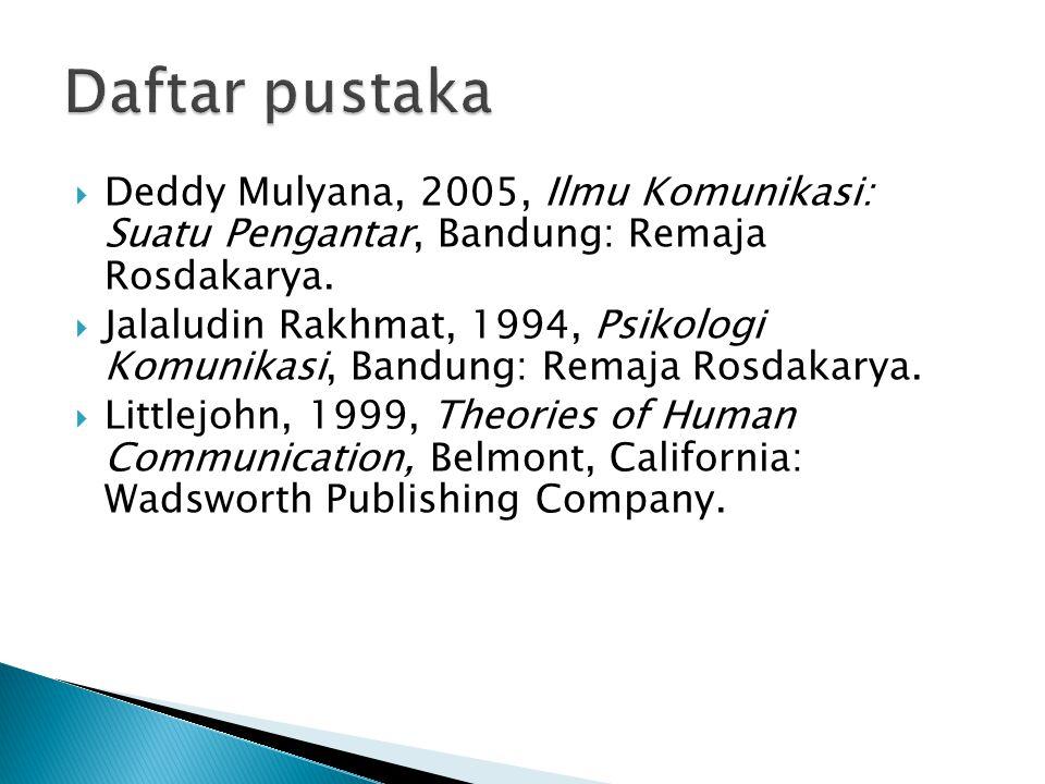  Deddy Mulyana, 2005, Ilmu Komunikasi: Suatu Pengantar, Bandung: Remaja Rosdakarya.  Jalaludin Rakhmat, 1994, Psikologi Komunikasi, Bandung: Remaja