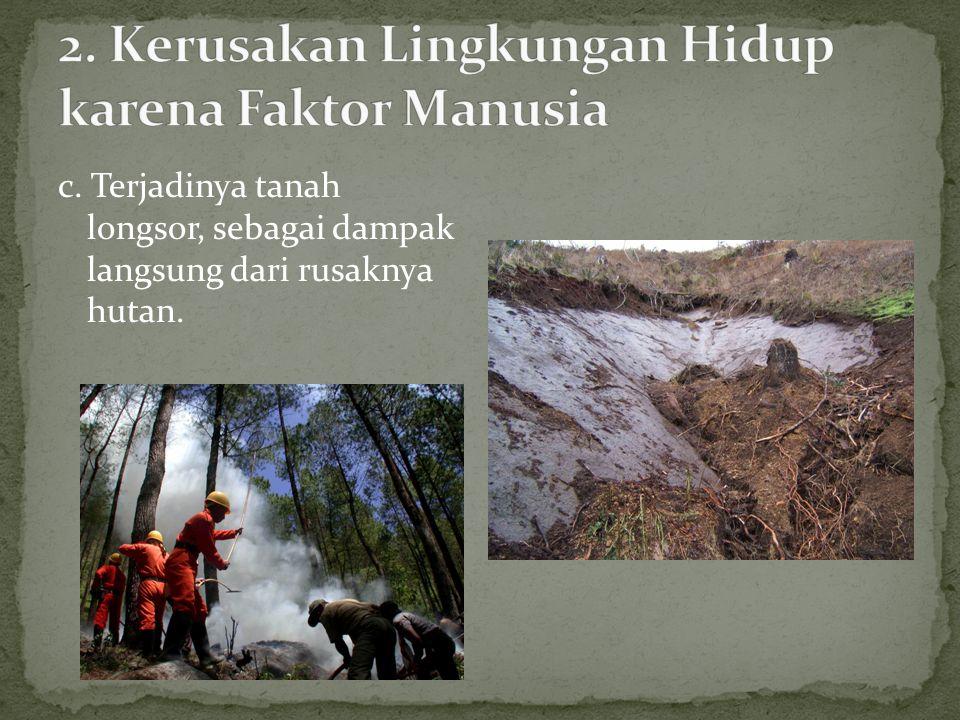 a.Penebangan hutan secara liar (penggundulan hutan).
