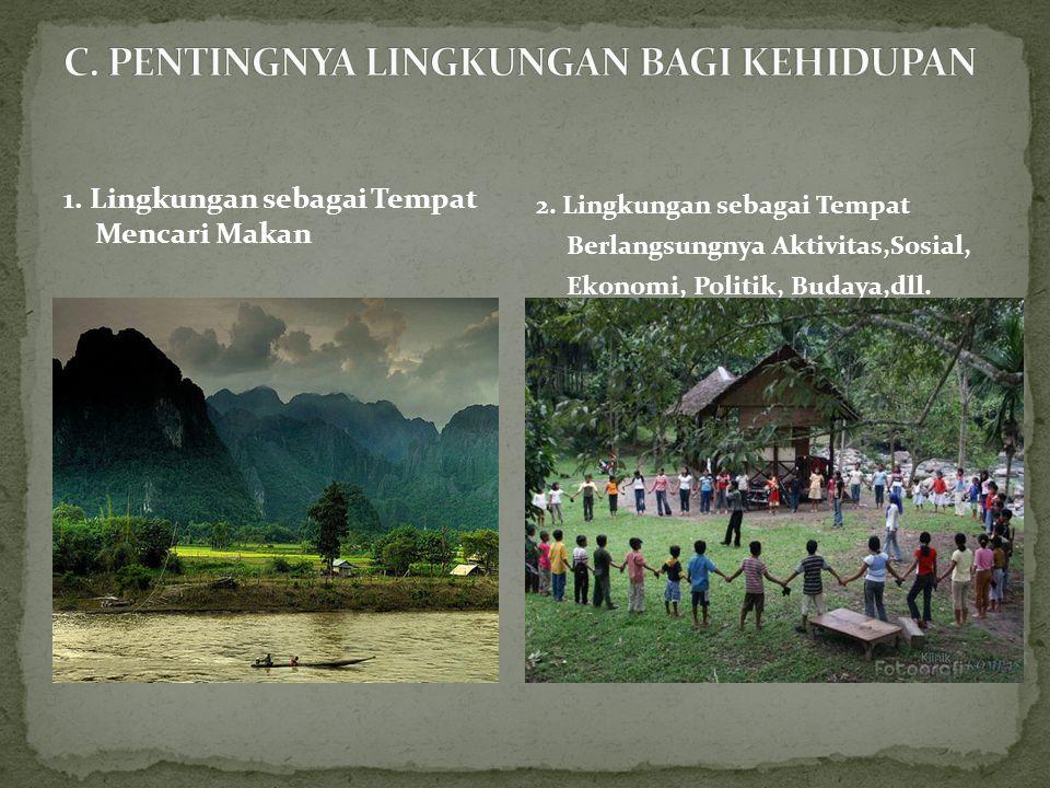 3.Lingkungan sebagai Wahana/Tempat bagi Kelanjutan Kehidupan 4.