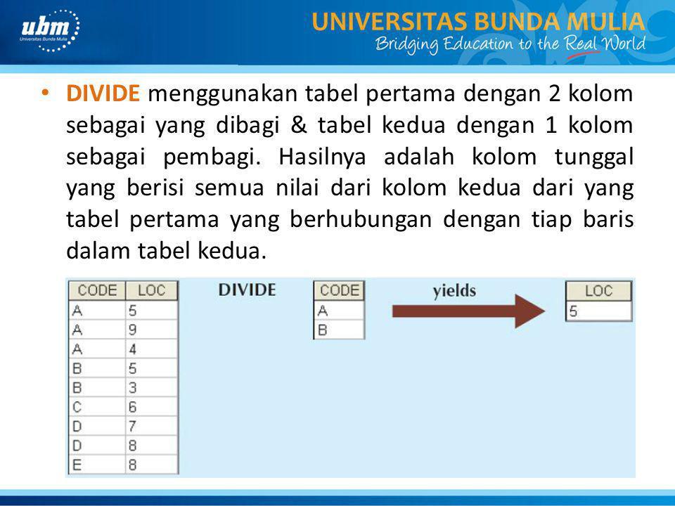 DIVIDE menggunakan tabel pertama dengan 2 kolom sebagai yang dibagi & tabel kedua dengan 1 kolom sebagai pembagi.