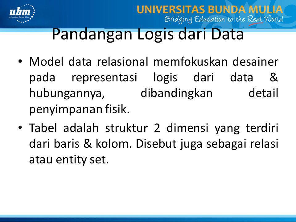 Pandangan Logis dari Data Model data relasional memfokuskan desainer pada representasi logis dari data & hubungannya, dibandingkan detail penyimpanan fisik.