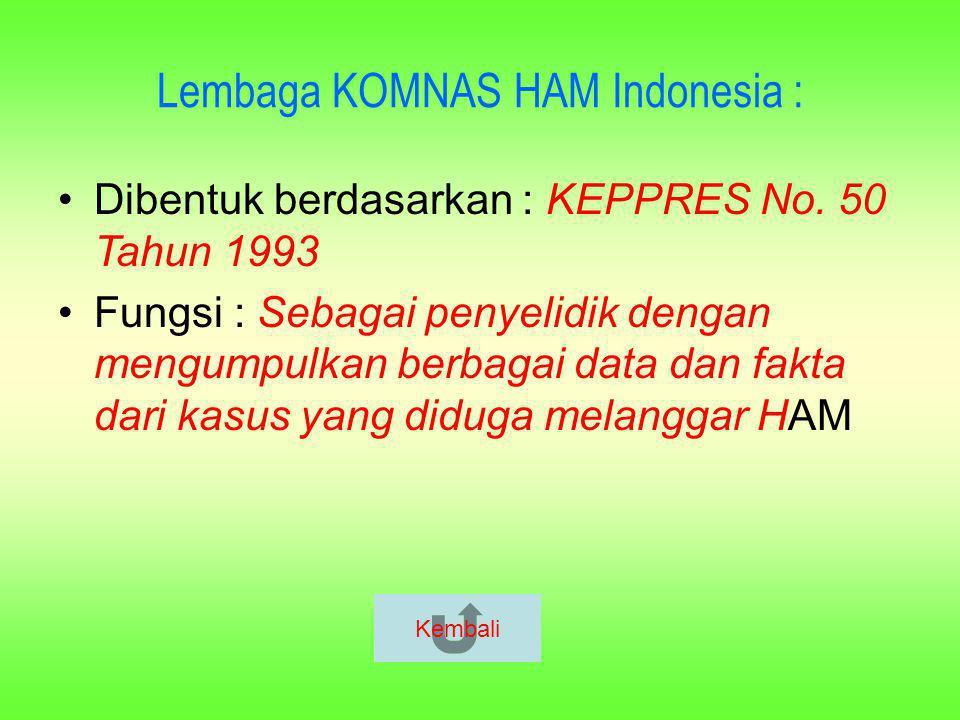 Beberapa Regulasi tentang HAM di Indonesia : UUD 1945 hasil amandemen Tap MPR No.