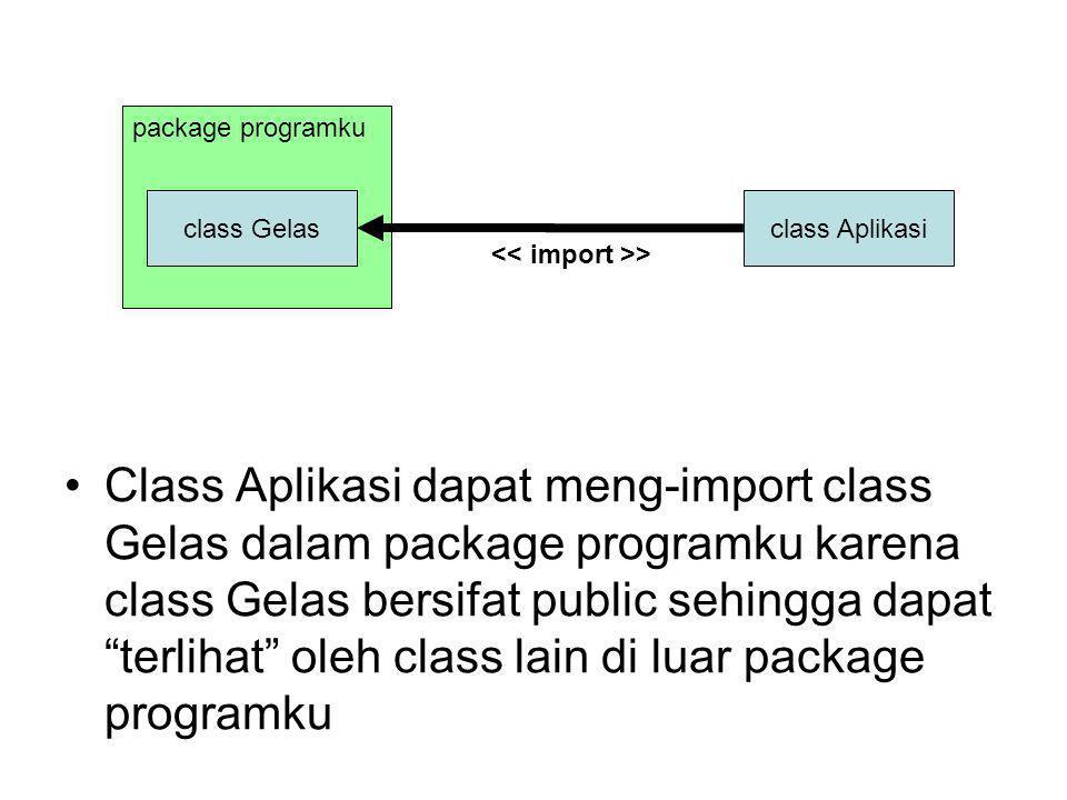 package programku class Gelas class Aplikasi Class Aplikasi dapat meng-import class Gelas dalam package programku karena class Gelas bersifat public sehingga dapat terlihat oleh class lain di luar package programku >