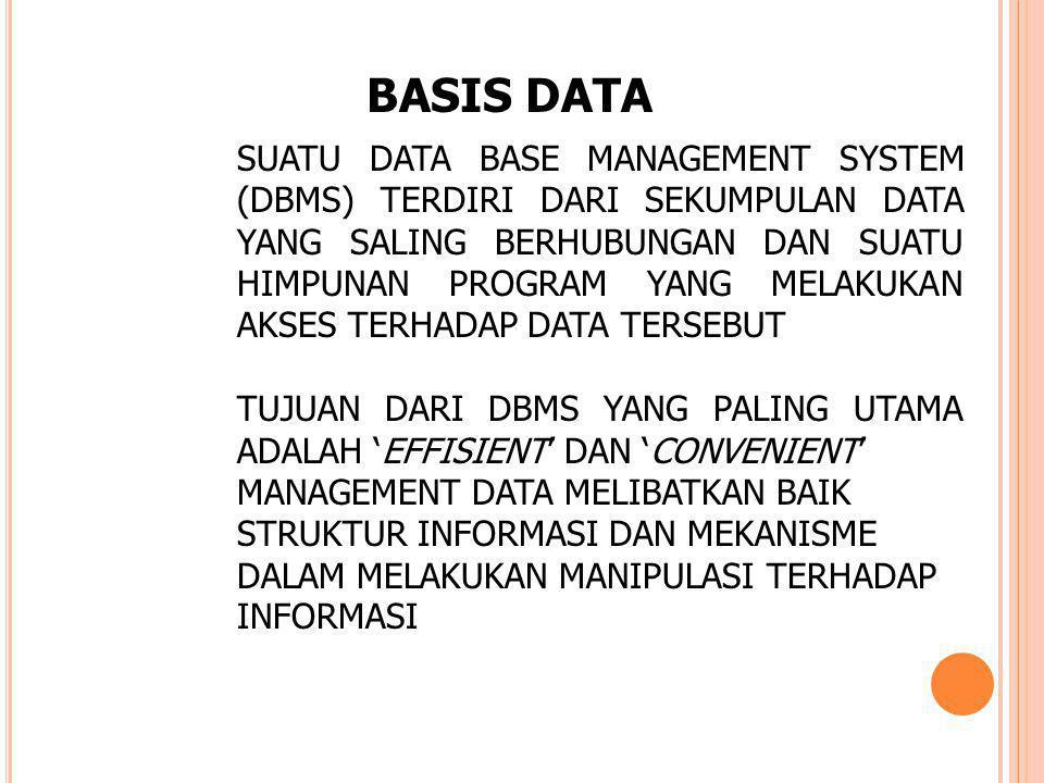 SUATU DATA BASE MANAGEMENT SYSTEM (DBMS) TERDIRI DARI SEKUMPULAN DATA YANG SALING BERHUBUNGAN DAN SUATU HIMPUNAN PROGRAM YANG MELAKUKAN AKSES TERHADAP DATA TERSEBUT TUJUAN DARI DBMS YANG PALING UTAMA ADALAH 'EFFISIENT' DAN 'CONVENIENT' MANAGEMENT DATA MELIBATKAN BAIK STRUKTUR INFORMASI DAN MEKANISME DALAM MELAKUKAN MANIPULASI TERHADAP INFORMASI BASIS DATA