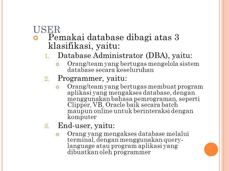 USER Pemakai database dibagi atas 3 klasifikasi, yaitu: 1.