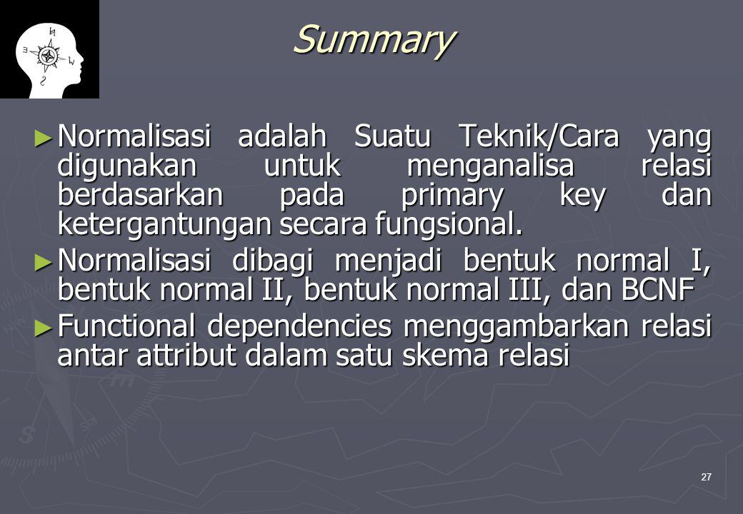 27 Summary ► Normalisasi adalah Suatu Teknik/Cara yang digunakan untuk menganalisa relasi berdasarkan pada primary key dan ketergantungan secara fungsional.
