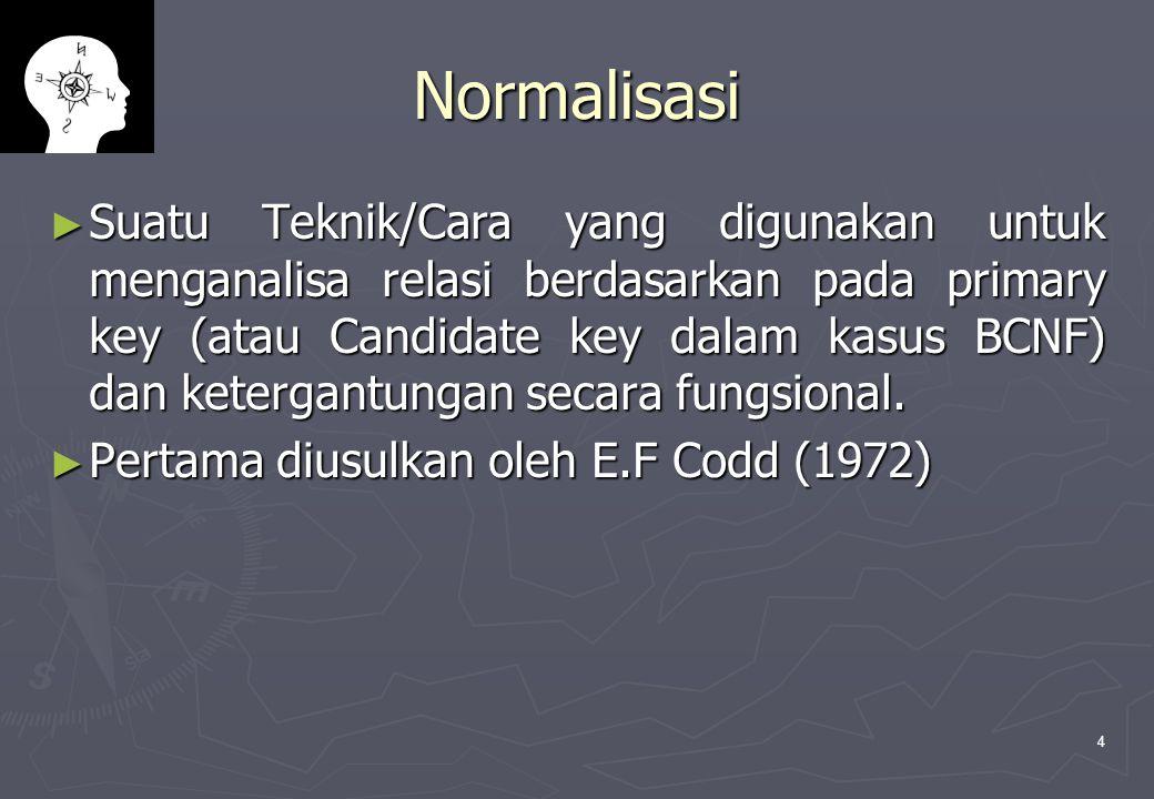 4 Normalisasi ► Suatu Teknik/Cara yang digunakan untuk menganalisa relasi berdasarkan pada primary key (atau Candidate key dalam kasus BCNF) dan ketergantungan secara fungsional.