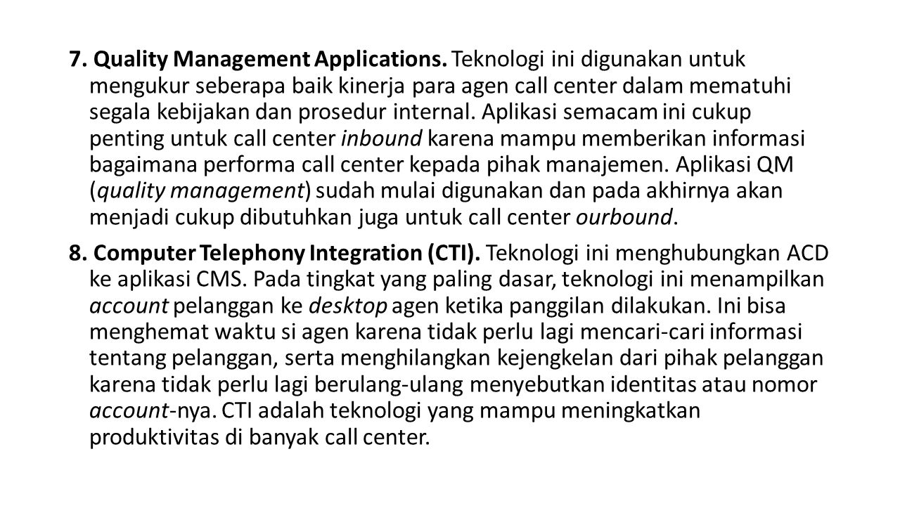 7.Quality Management Applications.