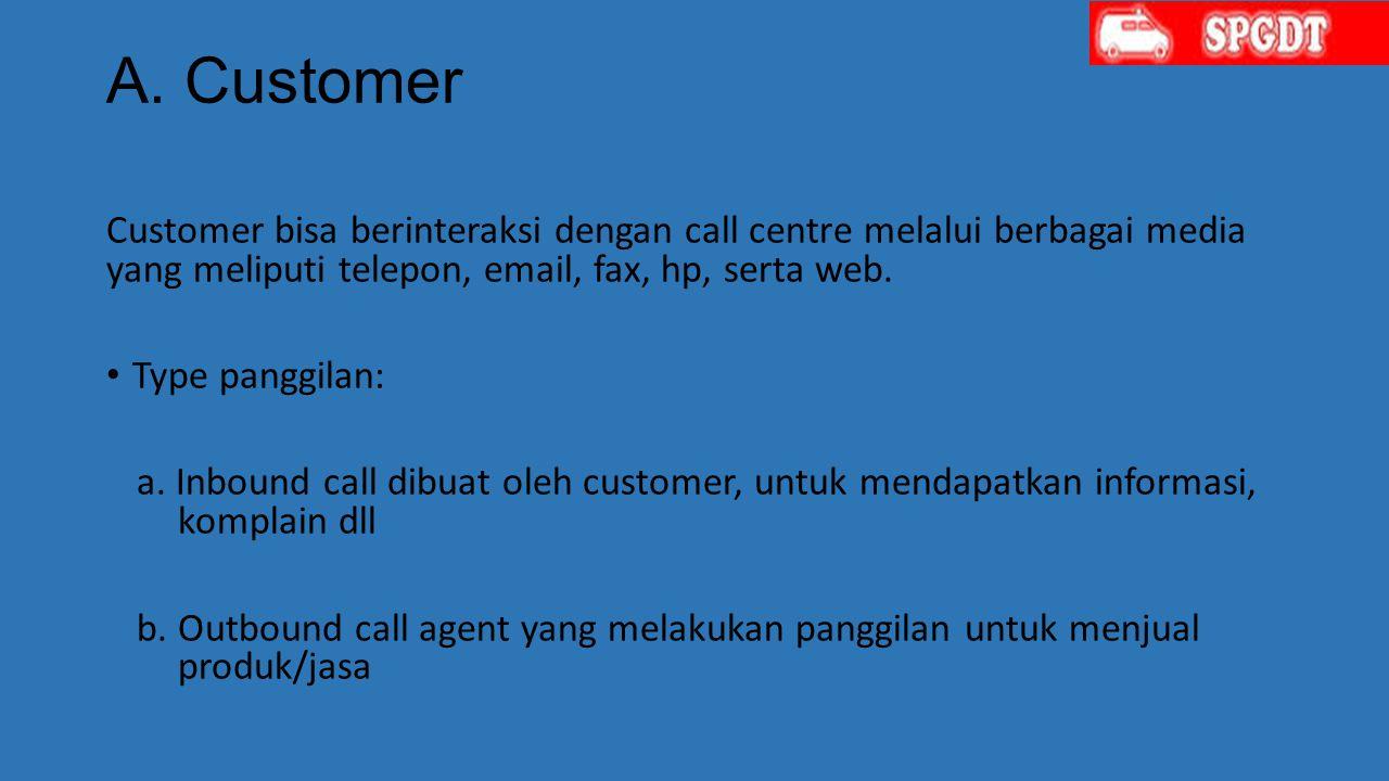 A. Customer Customer bisa berinteraksi dengan call centre melalui berbagai media yang meliputi telepon, email, fax, hp, serta web. Type panggilan: a.