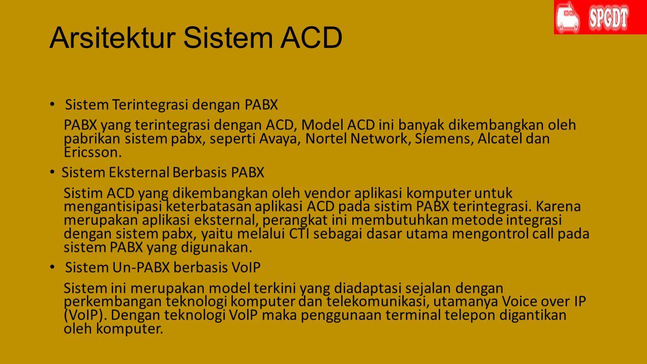 Arsitektur Sistem ACD Sistem Terintegrasi dengan PABX PABX yang terintegrasi dengan ACD, Model ACD ini banyak dikembangkan oleh pabrikan sistem pabx, seperti Avaya, Nortel Network, Siemens, Alcatel dan Ericsson.