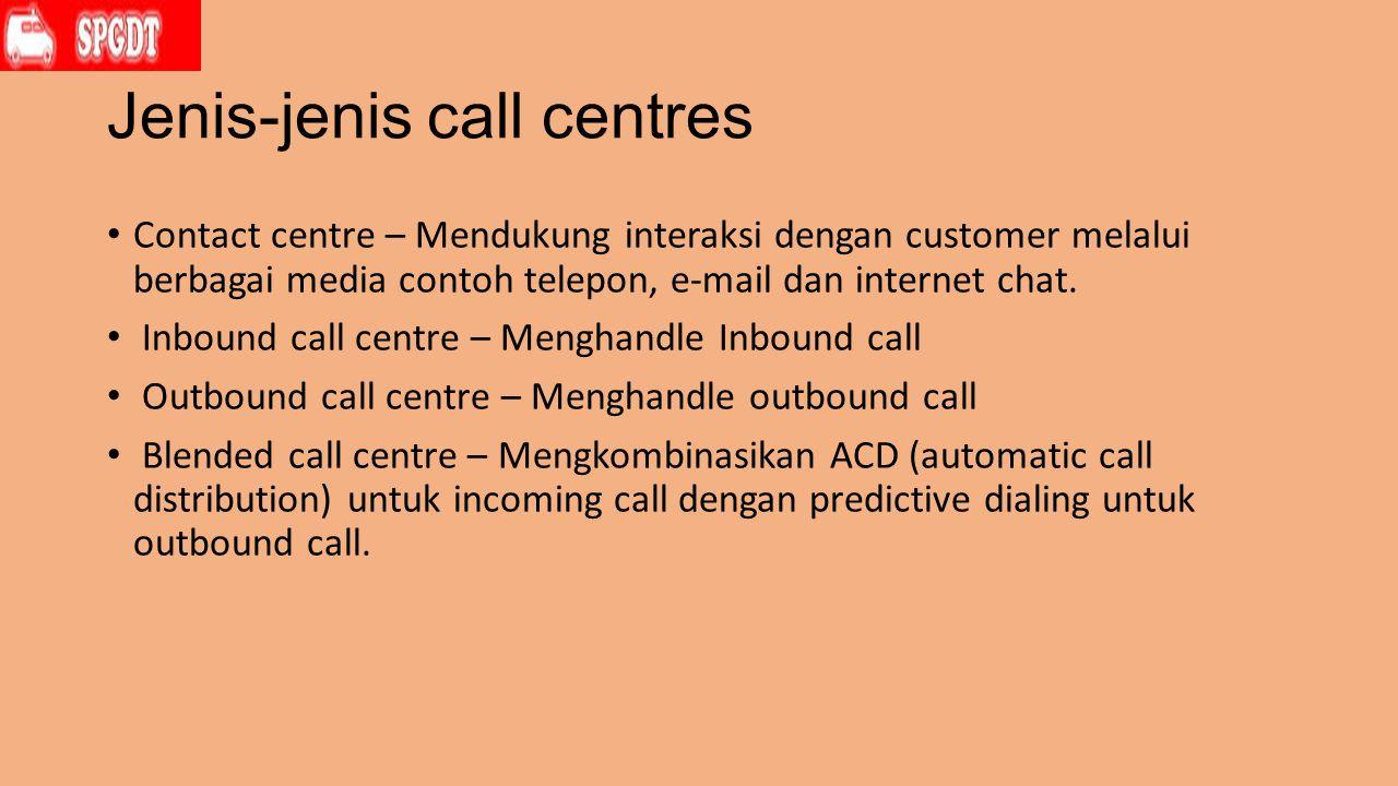 Jenis-jenis call centres Contact centre – Mendukung interaksi dengan customer melalui berbagai media contoh telepon, e-mail dan internet chat.