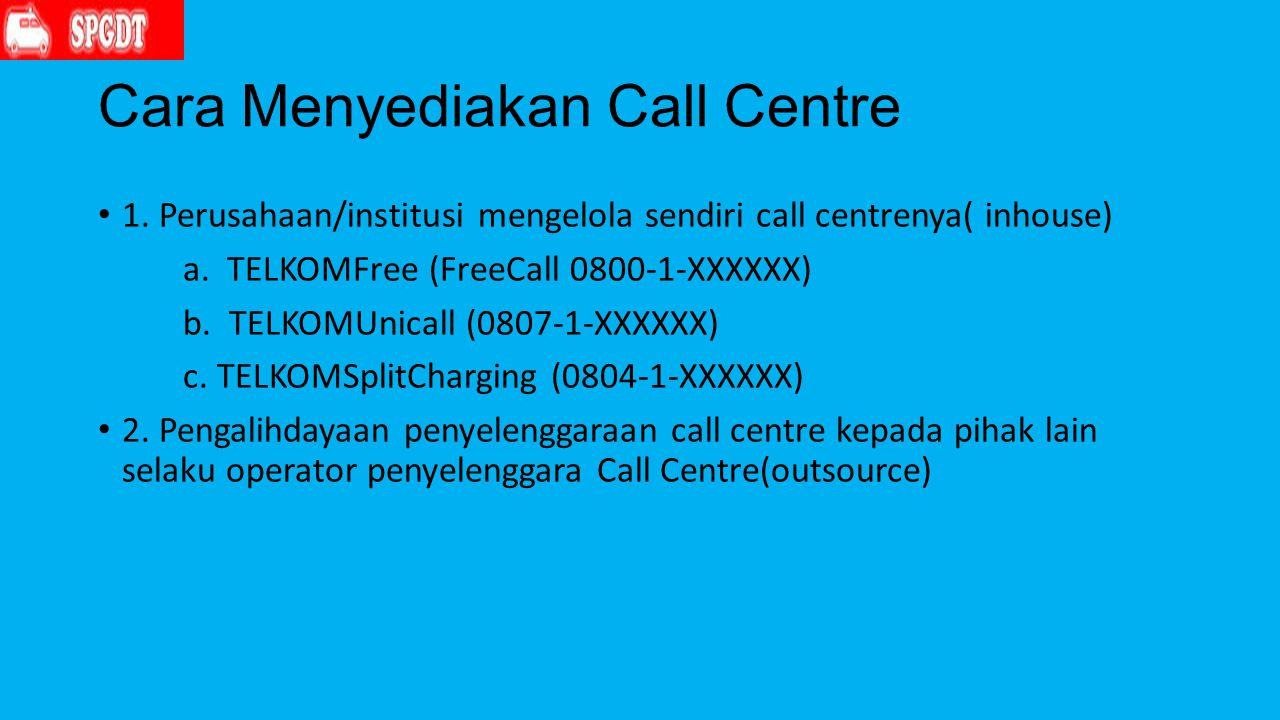 Cara Menyediakan Call Centre 1.Perusahaan/institusi mengelola sendiri call centrenya( inhouse) a.