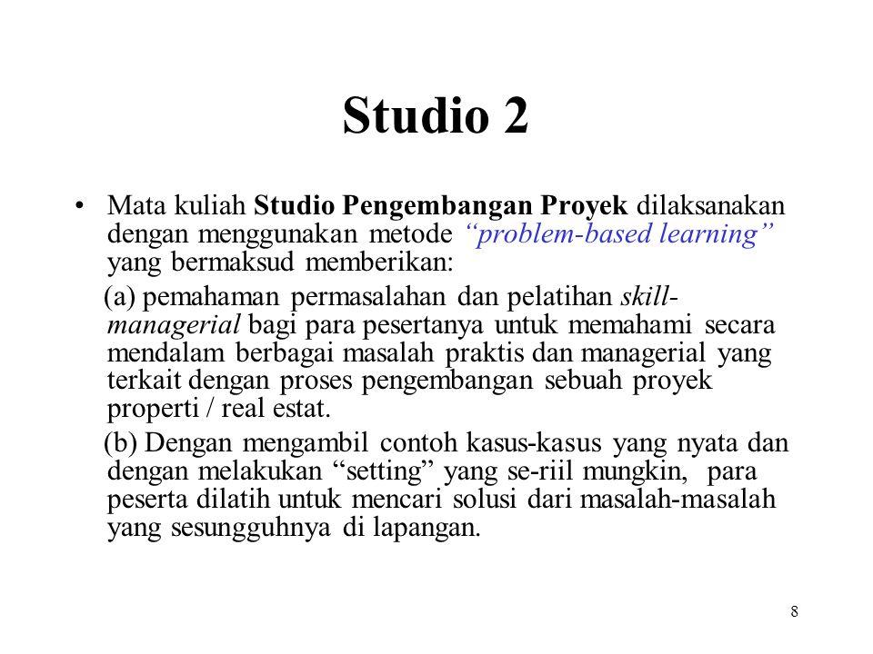 """8 Studio 2 Mata kuliah Studio Pengembangan Proyek dilaksanakan dengan menggunakan metode """"problem-based learning"""" yang bermaksud memberikan: (a) pemah"""