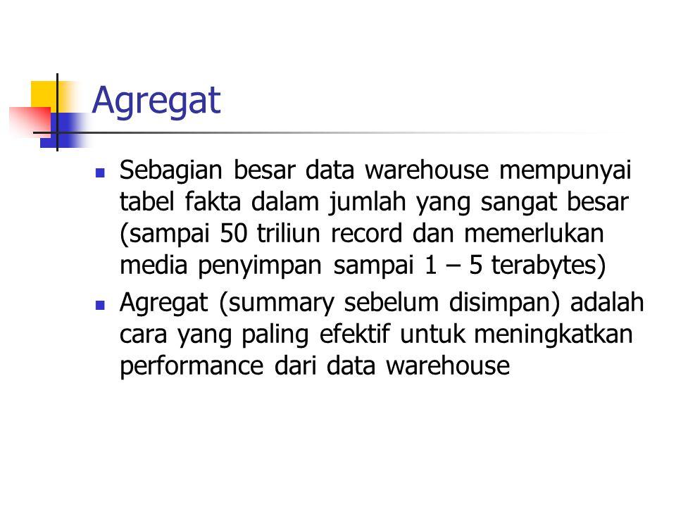 Agregat Sebagian besar data warehouse mempunyai tabel fakta dalam jumlah yang sangat besar (sampai 50 triliun record dan memerlukan media penyimpan sa
