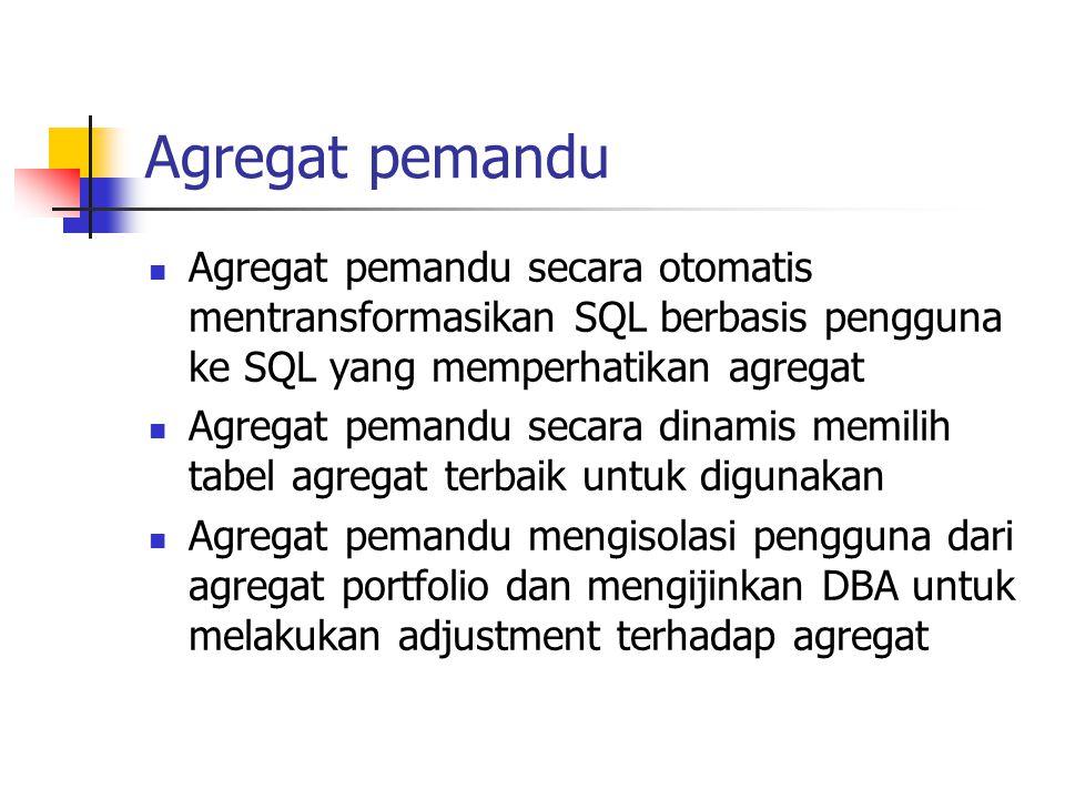 Agregat pemandu Agregat pemandu secara otomatis mentransformasikan SQL berbasis pengguna ke SQL yang memperhatikan agregat Agregat pemandu secara dina