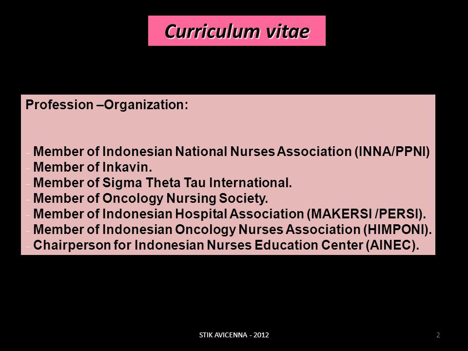 Curriculum vitae Profession –Organization: - Member of Indonesian National Nurses Association (INNA/PPNI) - Member of Inkavin. - Member of Sigma Thet