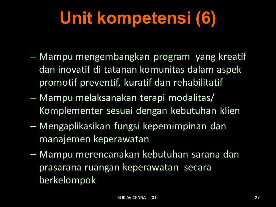 Unit kompetensi (6) – Mampu mengembangkan program yang kreatif dan inovatif di tatanan komunitas dalam aspek promotif preventif, kuratif dan rehabilit