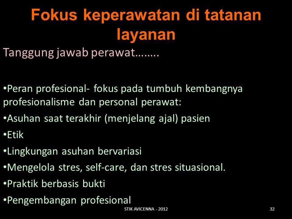 Fokus keperawatan di tatanan layanan Tanggung jawab perawat…….. Peran profesional- fokus pada tumbuh kembangnya profesionalisme dan personal perawat:
