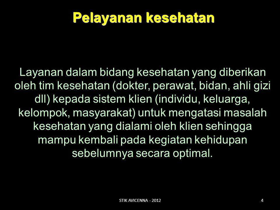 PELAYANAN KESEHATAN PASIEN Dokter Perawat Ahli diit, dll. dll. Bidan STIK AVICENNA - 20125