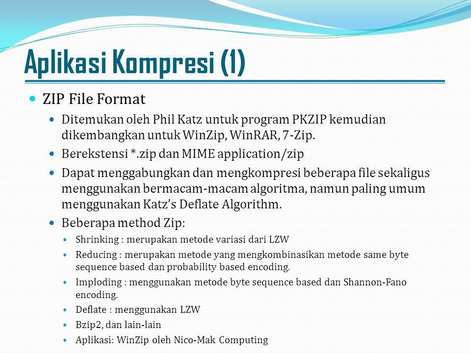 Aplikasi Kompresi (1) ZIP File Format Ditemukan oleh Phil Katz untuk program PKZIP kemudian dikembangkan untuk WinZip, WinRAR, 7-Zip. Berekstensi *.zi