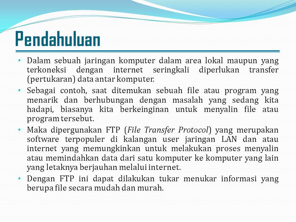 Pendahuluan Dalam sebuah jaringan komputer dalam area lokal maupun yang terkoneksi dengan internet seringkali diperlukan transfer (pertukaran) data an