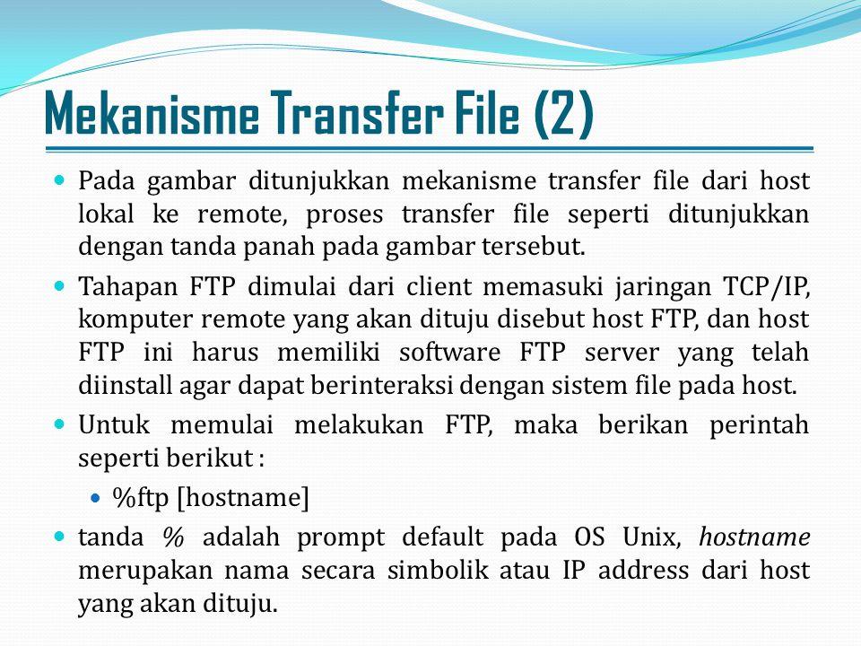 Mekanisme Transfer File (3) Bila sudah dapat tersambung maka akan ditanyakan nama user dan password, isian nama user dan password sesuai dengan account yang diberikan seperti yang digunakan bila user akan menggunakan server tersebut.