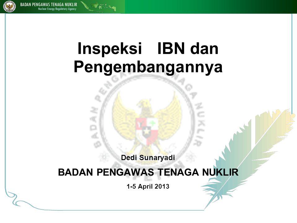 Inspeksi IBN dan Pengembangannya Dedi Sunaryadi BADAN PENGAWAS TENAGA NUKLIR 1-5 April 2013 1 18-Nop-14