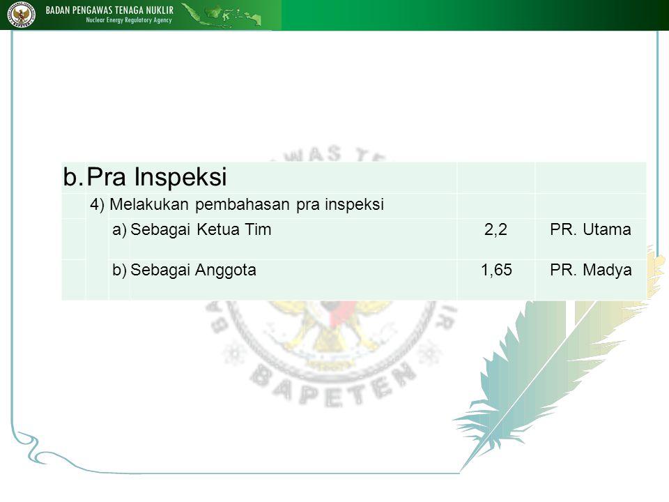 b.Pra Inspeksi 4)Melakukan pembahasan pra inspeksi a)Sebagai Ketua Tim2,2PR.